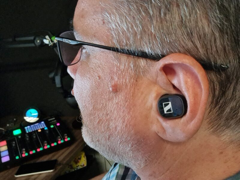 Ear showing the placement of the Sennheiser CX400BT