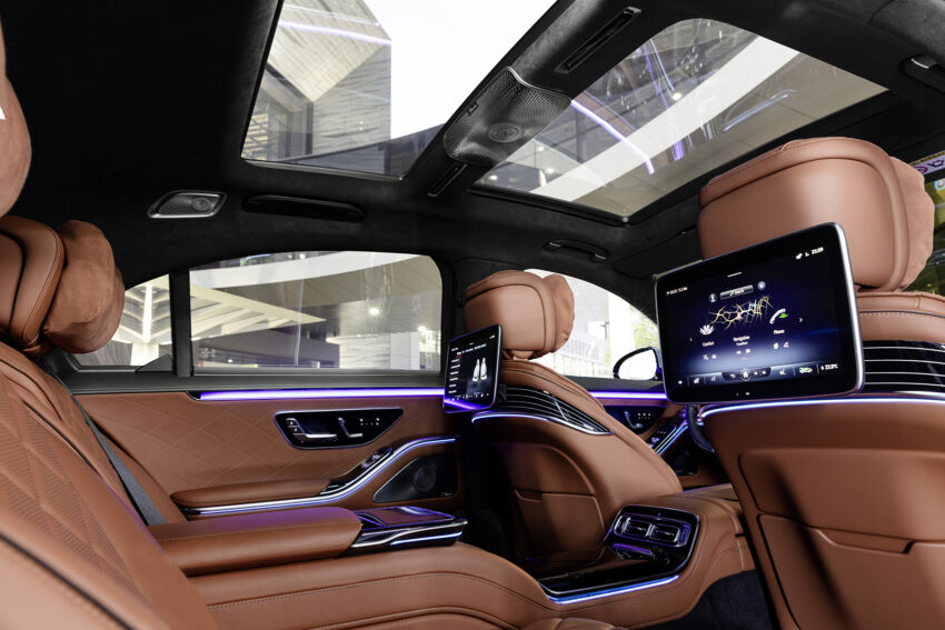 Rear seats of the S CLass with screens