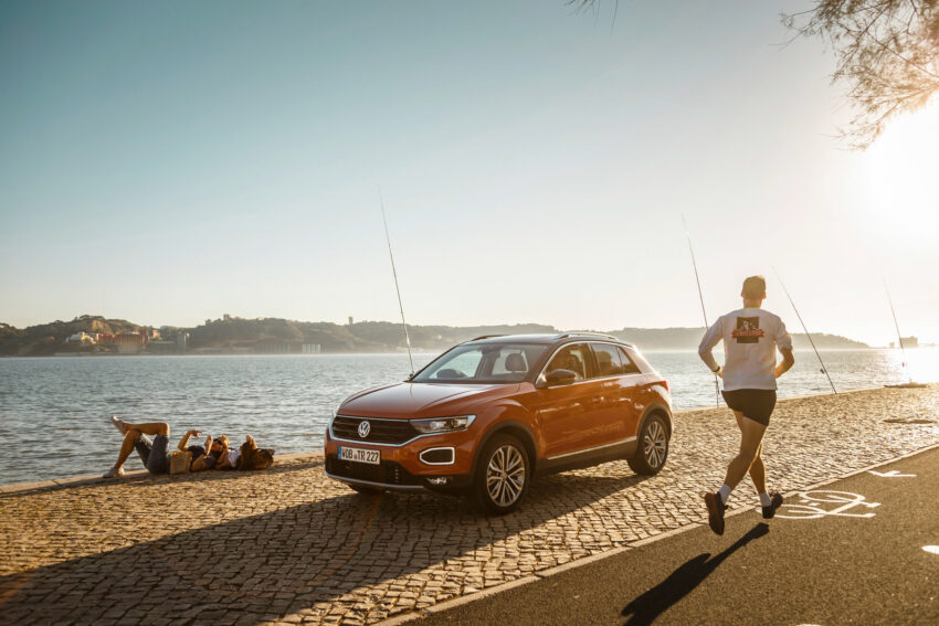 Volkswagen car on the foreshore, the T-Roc shown here has been a hit with Volkswagen Online Orders