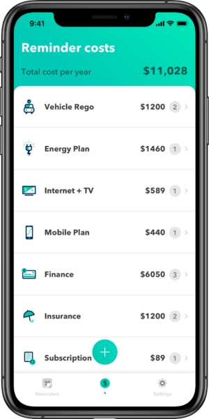 Get Reminded app showing in a smartphone with bills listed