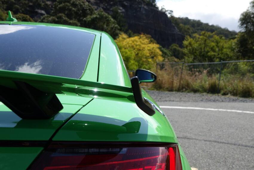 The rear spoiler of the Audi TT RS