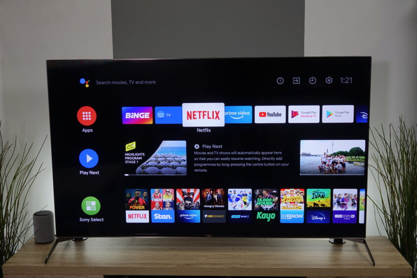 Sony TV showing Android TV Home screen
