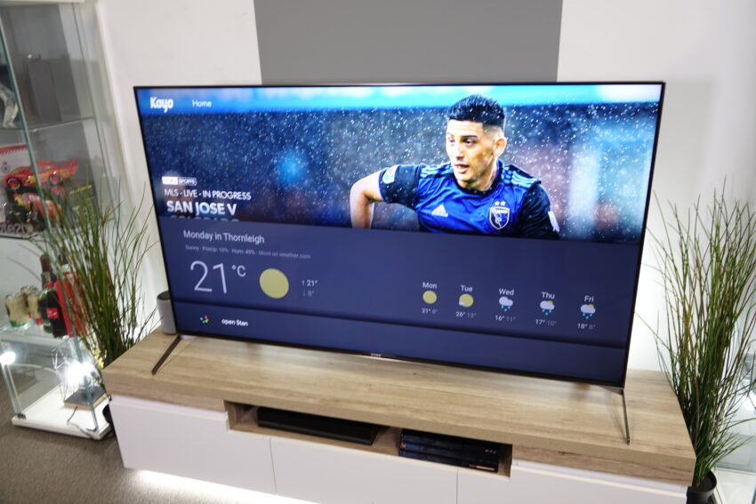 Google Assistant search results show on screen of a TV