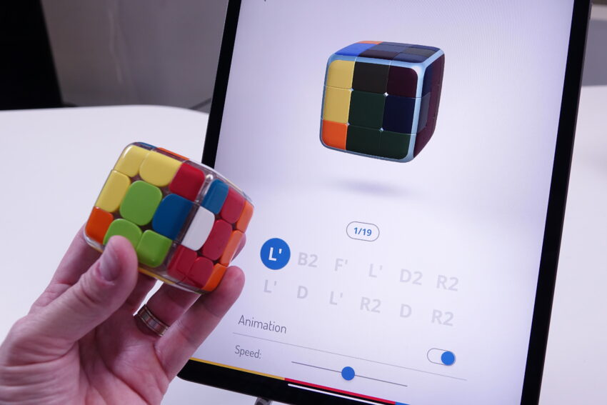 GoCube connected to it's app on an iPad