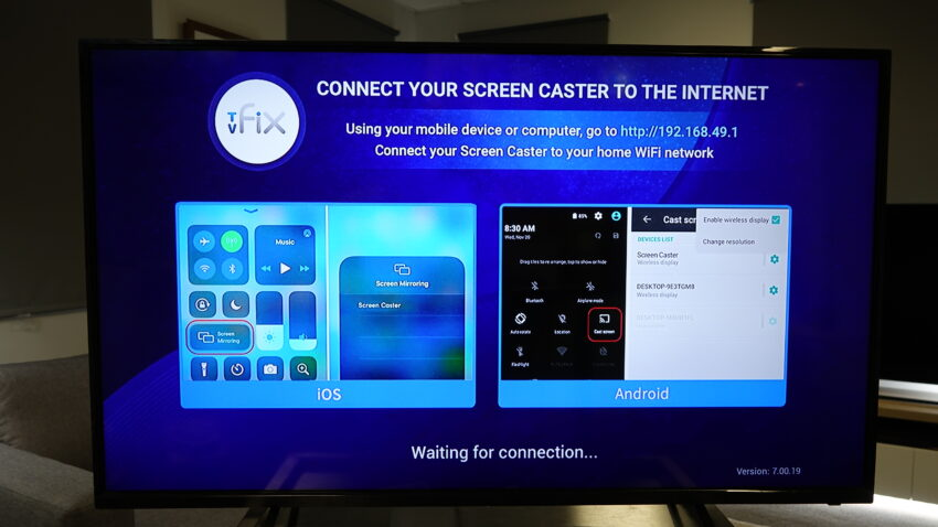 Screen Mirroring instructions on the TVFix