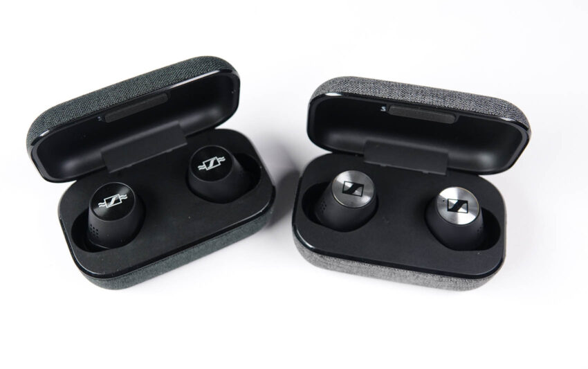Momentum True Wireless 2 Anniversary Edition and standard edition in case side by side