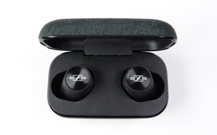Momentum True Wireless 2 Anniversary Edition earphones in their case