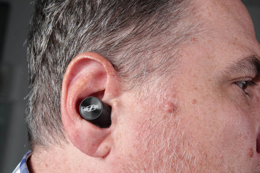 Momentum True Wireless 2 Anniversary Edition in the ear of Trevor Long