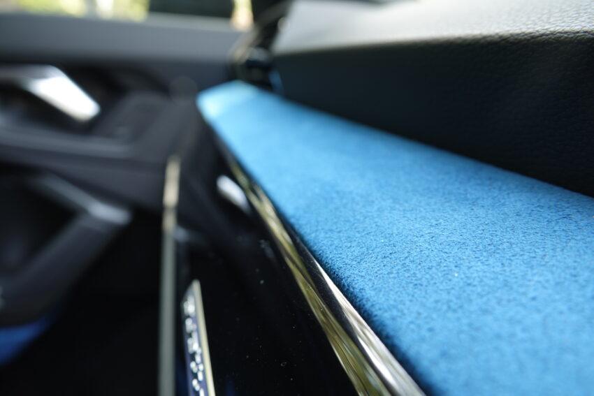 Blue Alcantara Leather on the Dashboard of the Audi RS Q3 Sportback