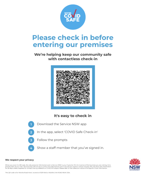 An example QR code for the Service NSW app for hospitality check-in