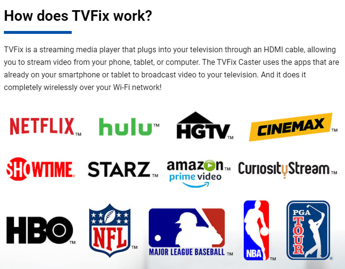 A screen capture from the TVFix website which shows streaming services and sports logos.