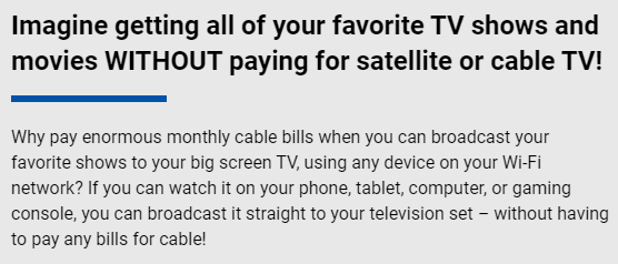 Text from the TVFix website talking about getting your favourite TV shows and movies without paying for Satellite or Cable TV