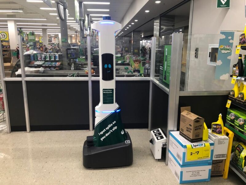 The Woolworths Robot sits idle