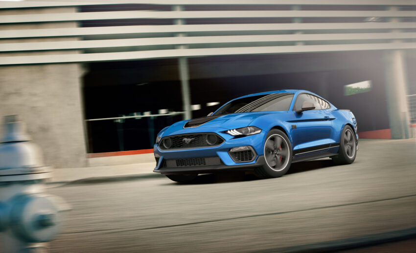 A blue Ford Mustang Mach 1