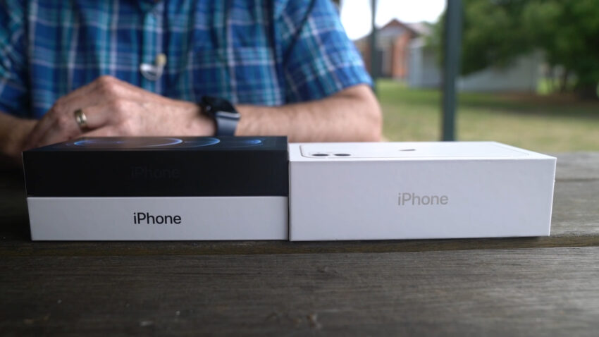Comparing box sizes of the iPhone 11 alongside the iPhone 12 and 12 Pro