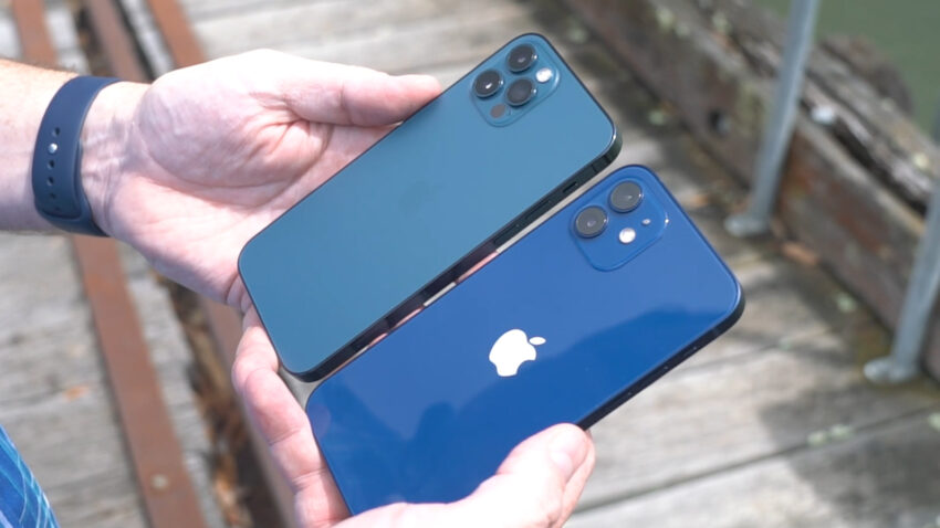 iPhone 12 and iPhone 12 Pro side by side