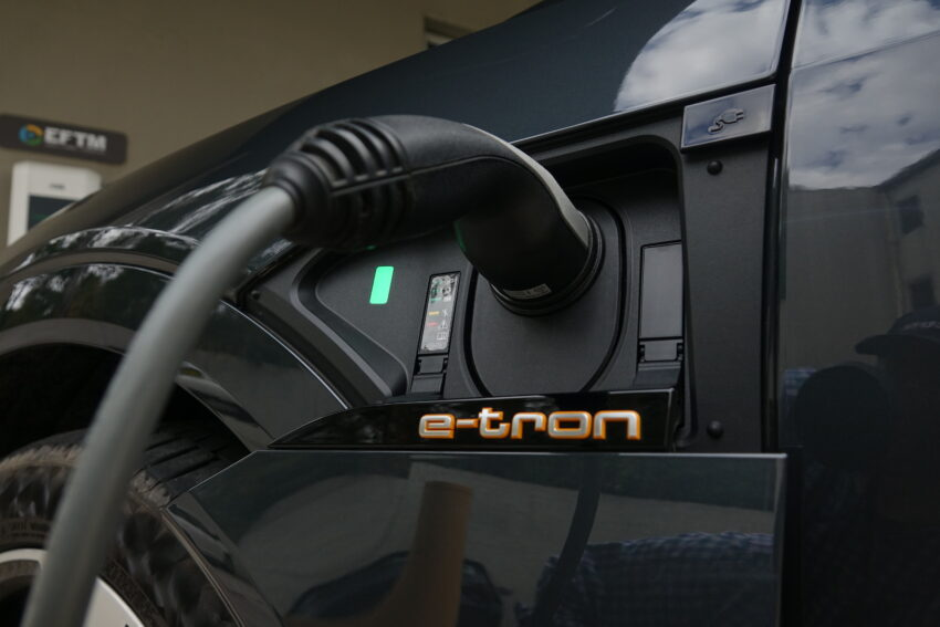 EV Charger plugged into an Audi e-tron