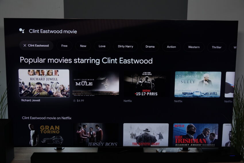 Chromecast with Google TV showing Search results