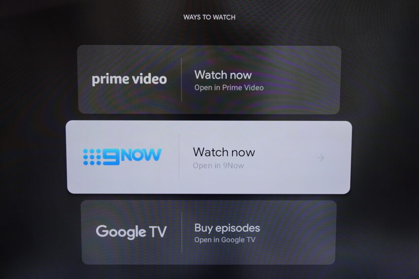 Universal search output options for a TV show shown on screen