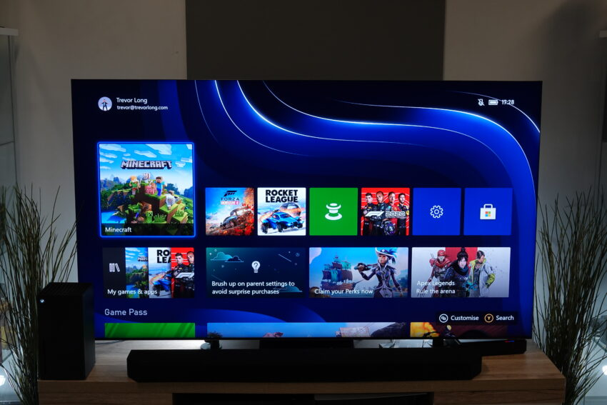 The new Xbox home screen with tile navigation