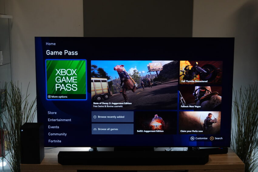 Xbox Series X home interface showing Game Pass