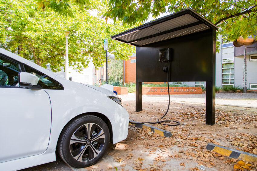 a Nissan Leaf e+ plugged into a bi-directional charger