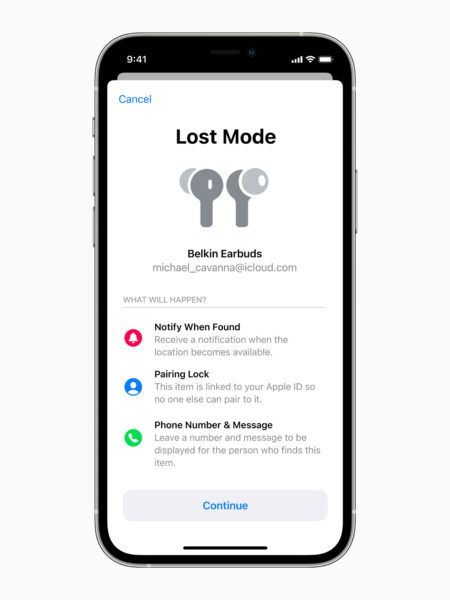 Activating Lost Mode on a pair of Belkin Earbuds