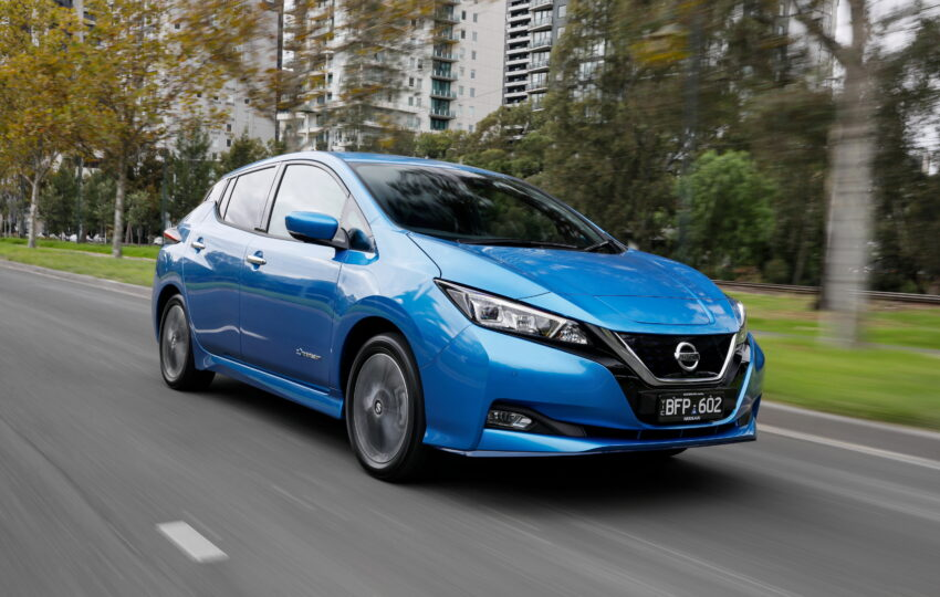Nissan Leaf e+ in Blue on the road